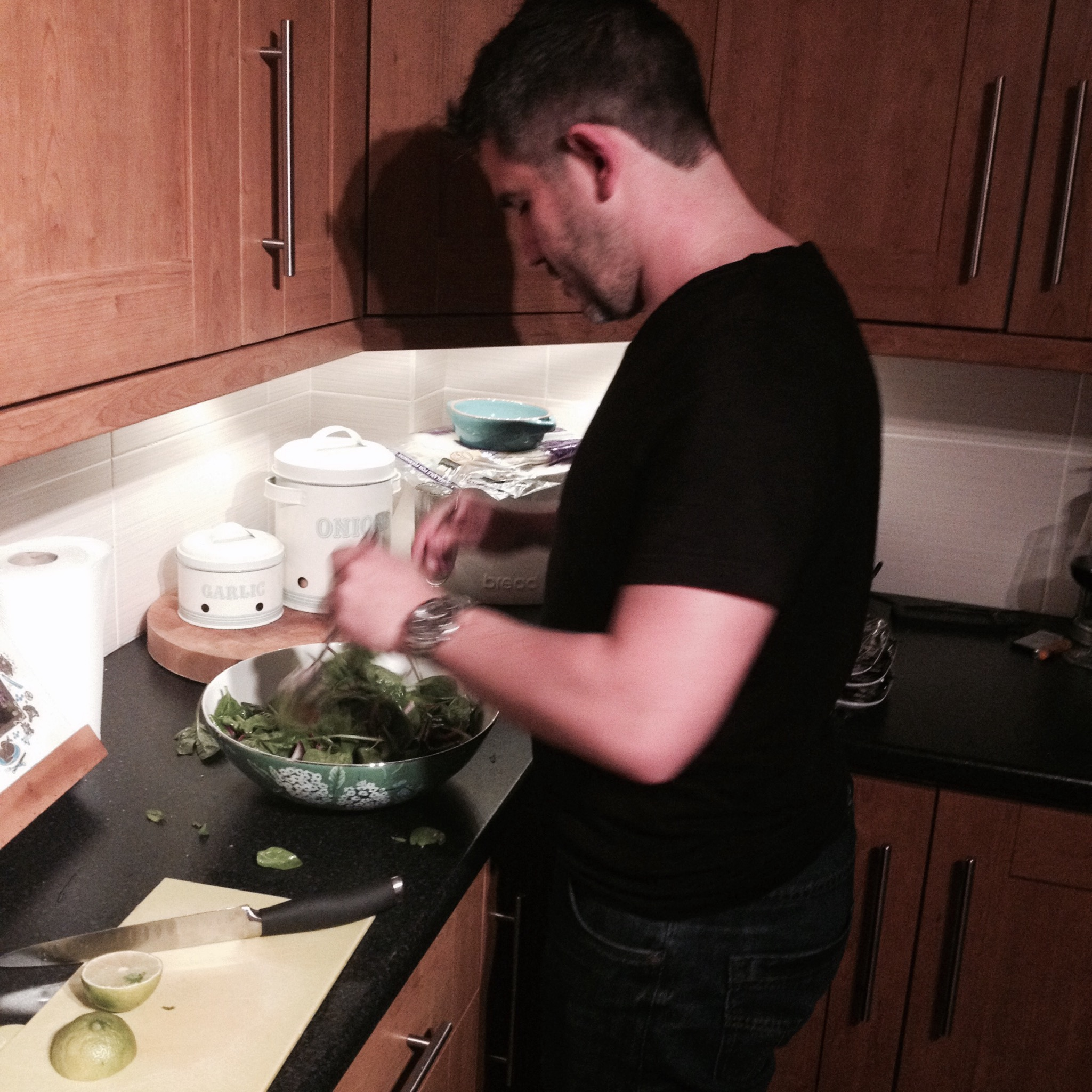 Ross Prepping his Salad