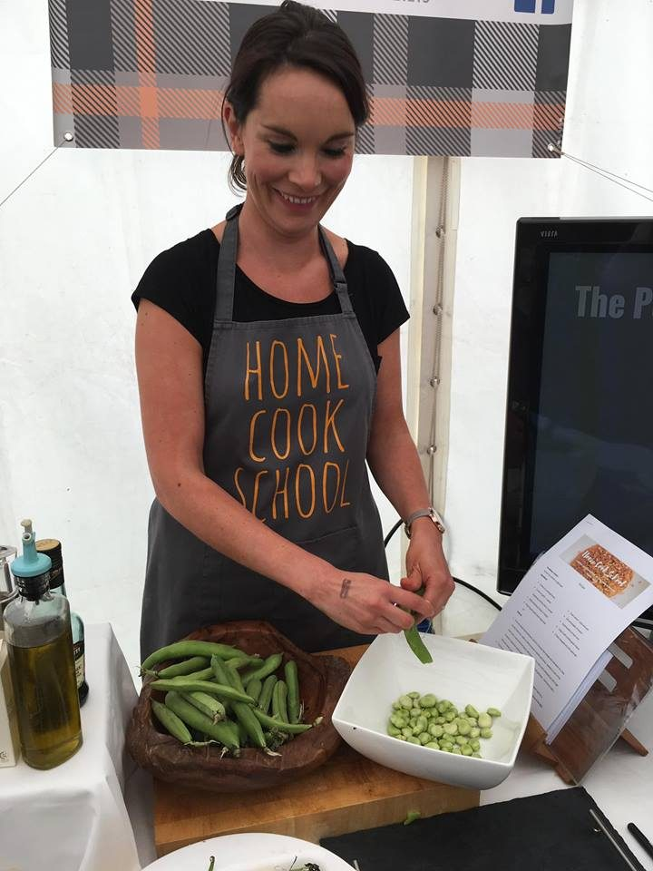 Lindsay demonstrating Broadbean and Goats Cheese Crostini at Ballantrae Festival of Food and Drink 2017