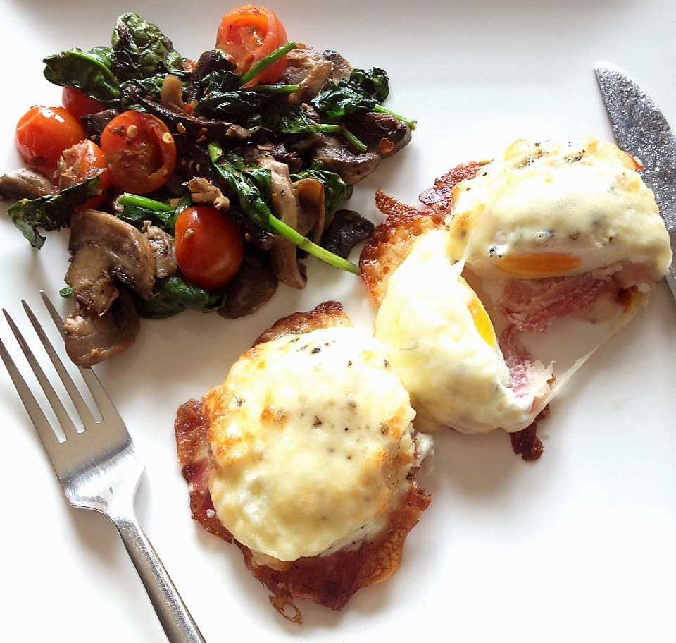 Baked Eggs with Mozzarella and Bacon and a Warm Spicy Mushroom Salad