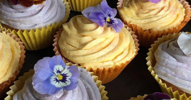 Edible Viola Vanilla Cupcakes with Vanilla Buttercream