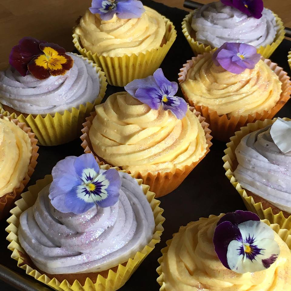 Edible Viola Vanilla Cupcakes with Vanilla Buttercream